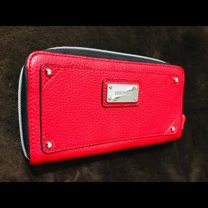 "Nine West Red All Around Zipped Wallet 8""x4"""